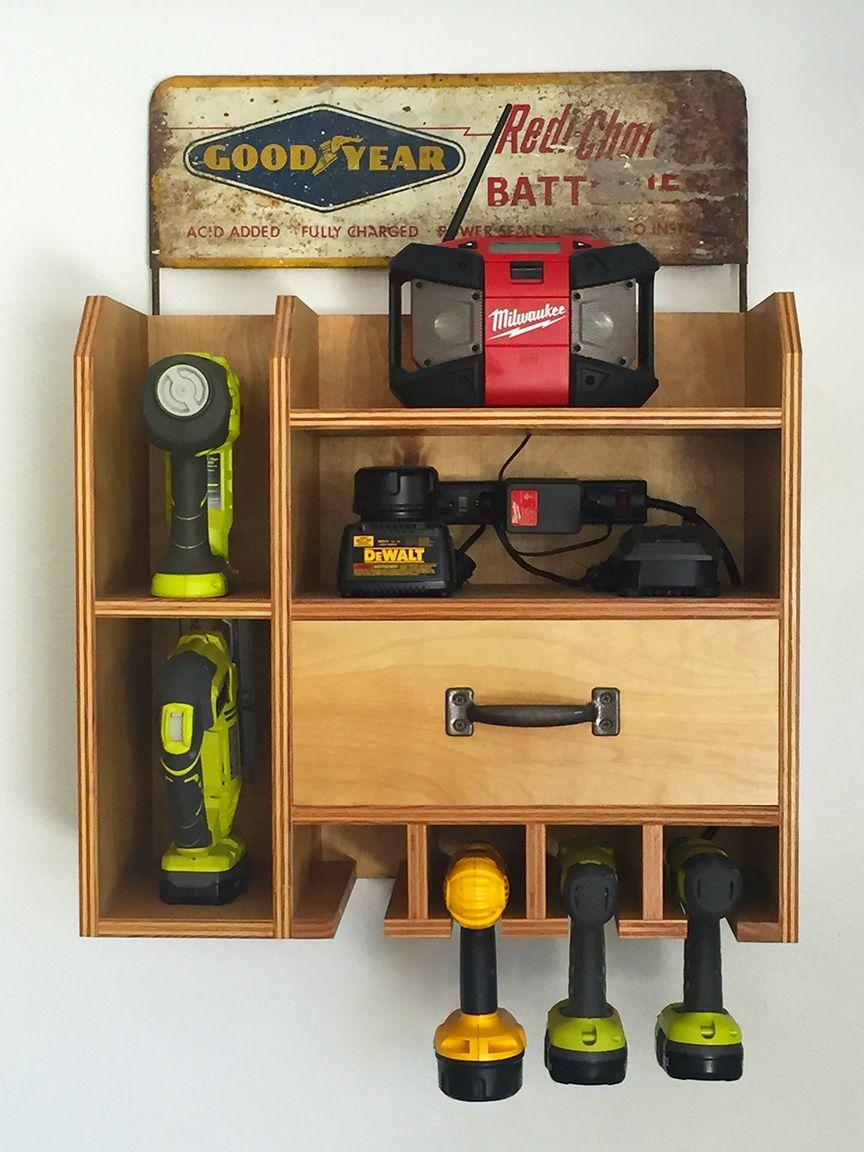 Cordless drill storagecharging station garage tool