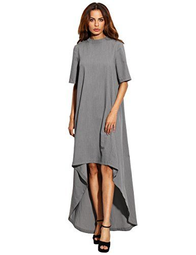 b236e8ced5af Verdusa Womens Short Sleeve High Low Loose Casual Long Dress Grey L     Check out this great product.