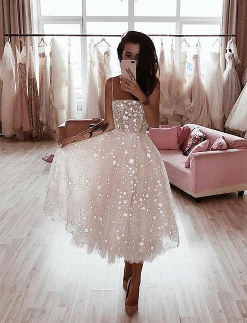 High Fashion White Prom Party Dresses Spaghetti Straps with Appliques