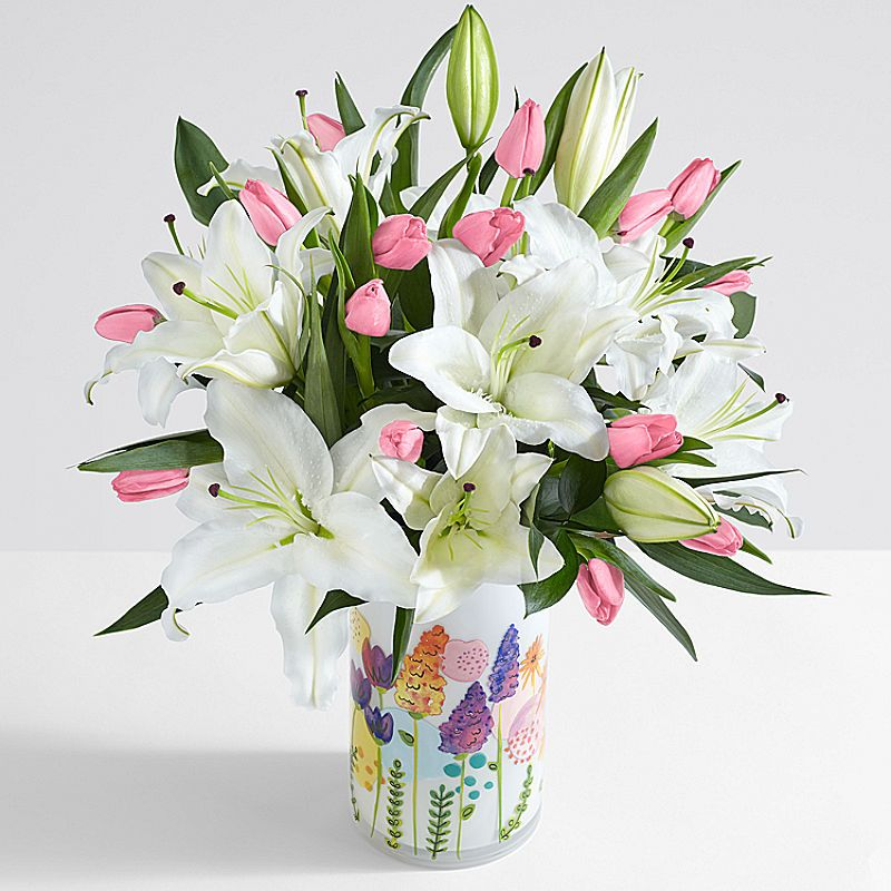 Deluxe Spring Tulips And Lilies Lily Flower Spring Flowers Spring Tulips
