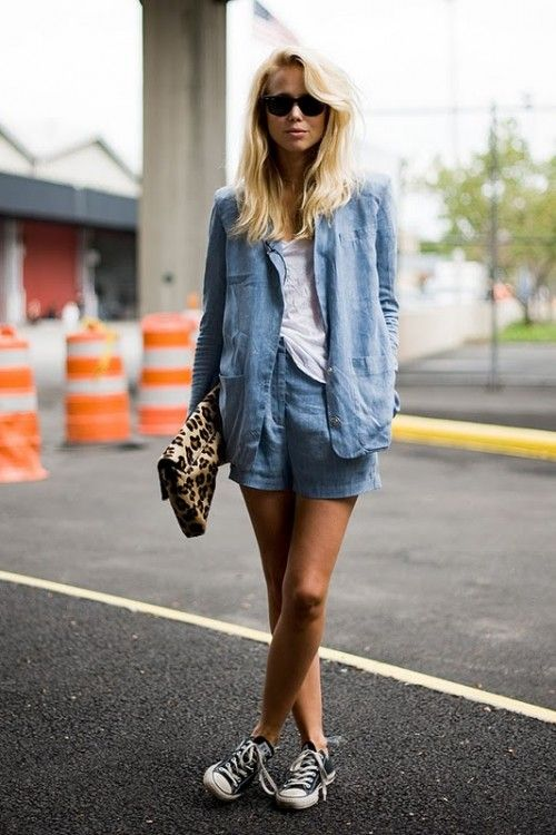 chambray shorts/shirt, converse. source: Style is eternal