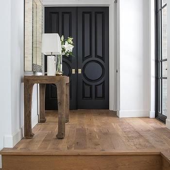 Black Circle Panel Double Front Doors with Gold Door Knobs | Home ...