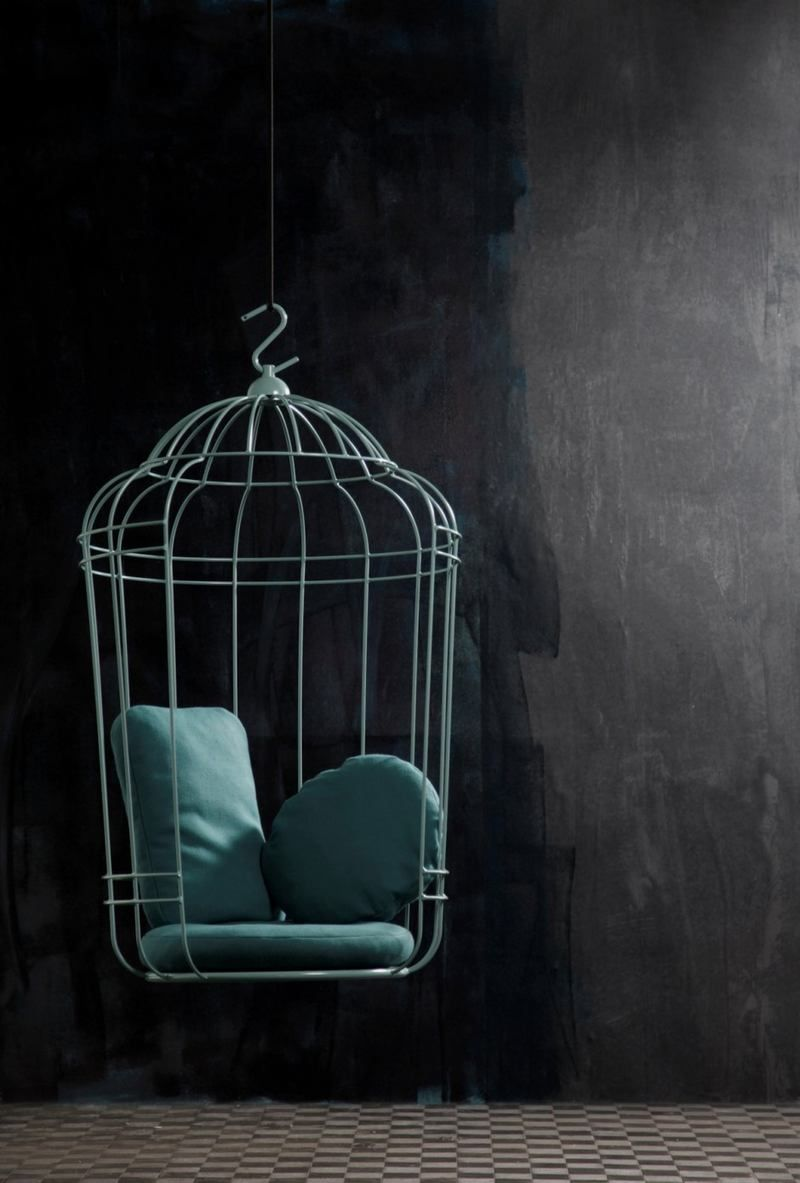 Hanging Chair In Large Birdcage Shape Cageling Swinging Chair Birdcage Chair Furniture Design