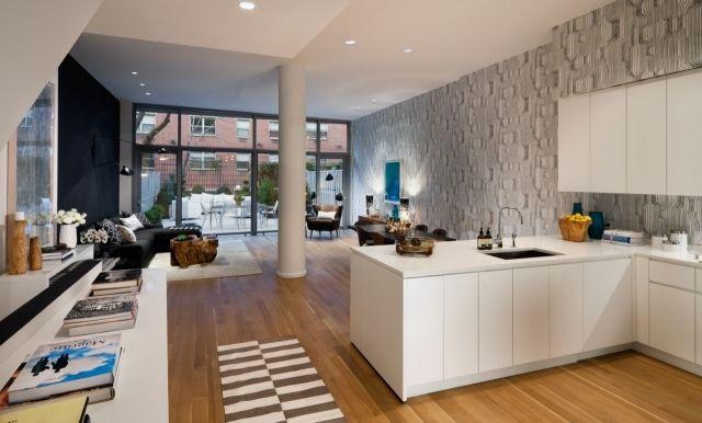 loft einrichtung weiße küche holzboden wandtapete Küche - Küche Einrichten Ideen