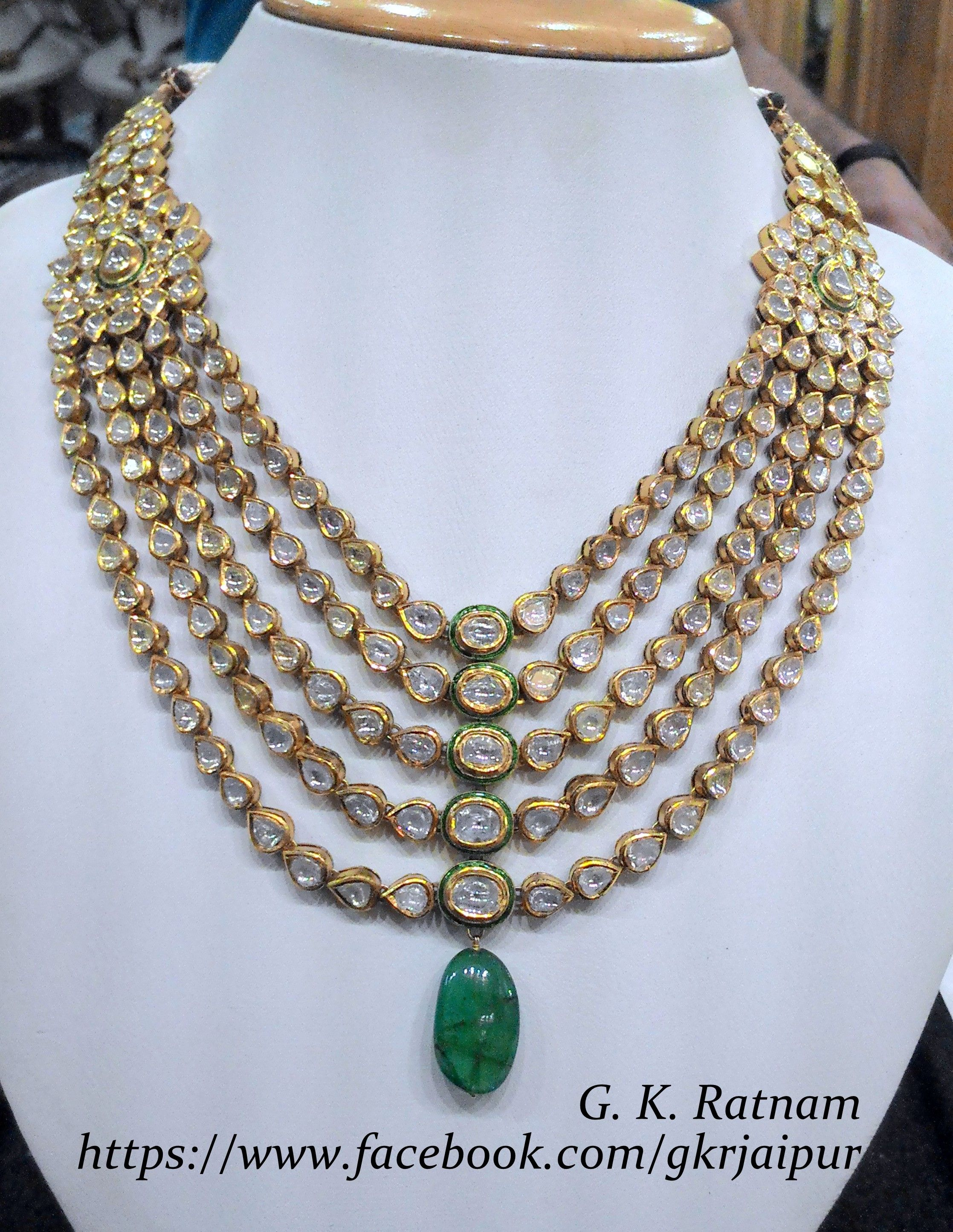 Green meenakari diamond polki 5 line necklace