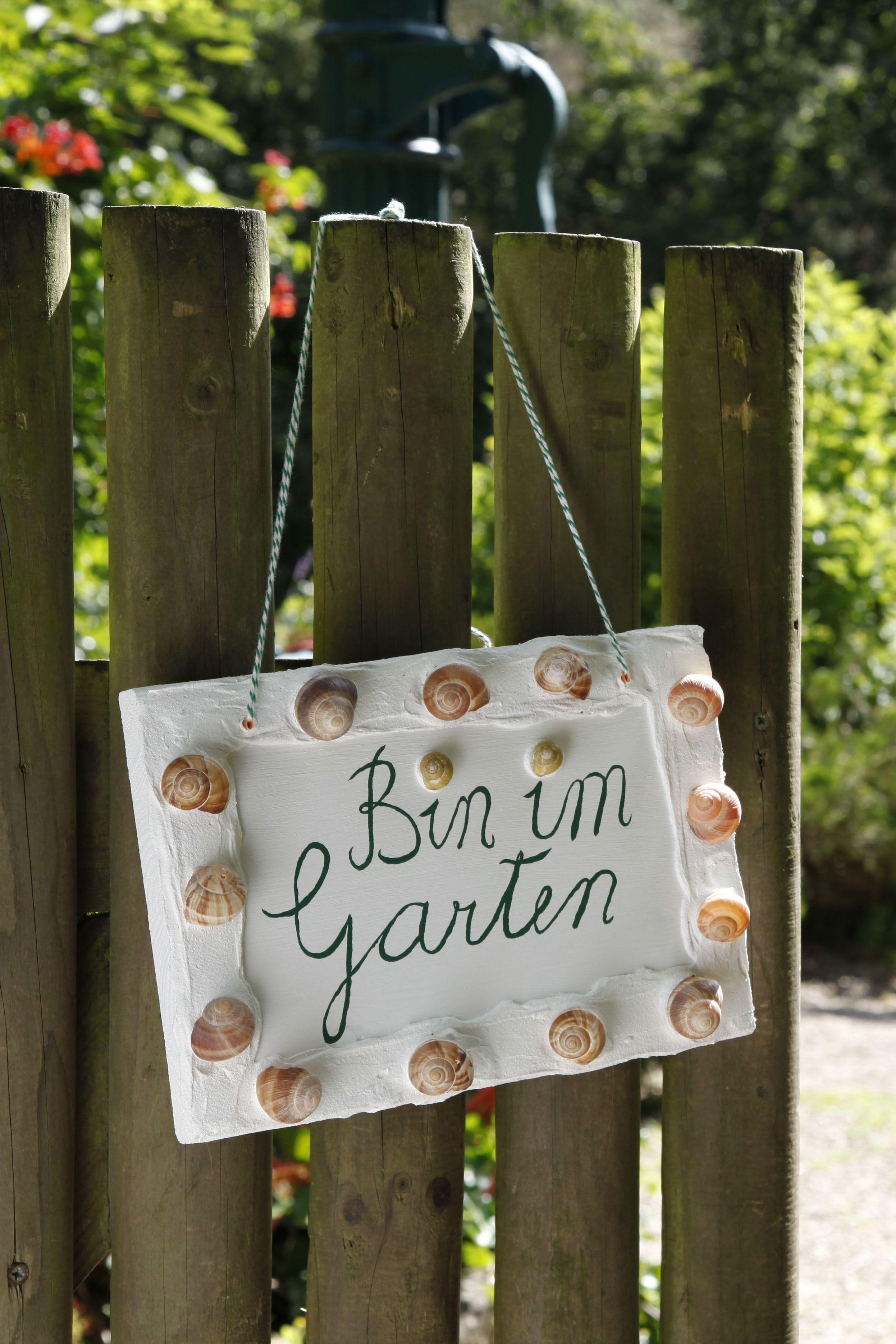 Gartenschild Mit Schneckenhausern Gartenschilder Garten Deko Gartendekor