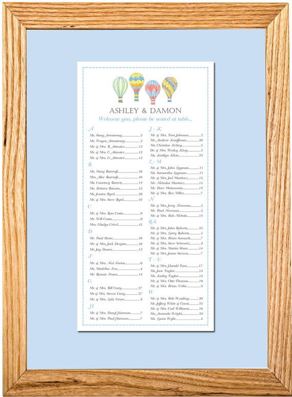 Hot Air Balloon Seating Chart Table Ignment For Your Wedding Or Special Event Small