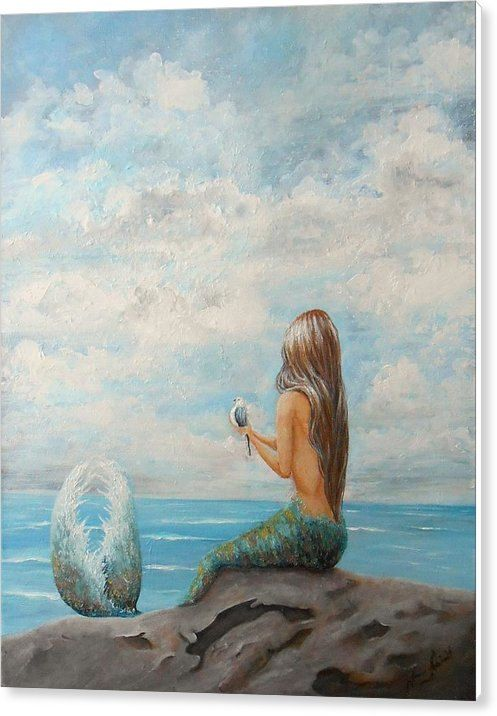 Mermaid Coastal Print Ocean Fantasy Art Beach House Wall Decor