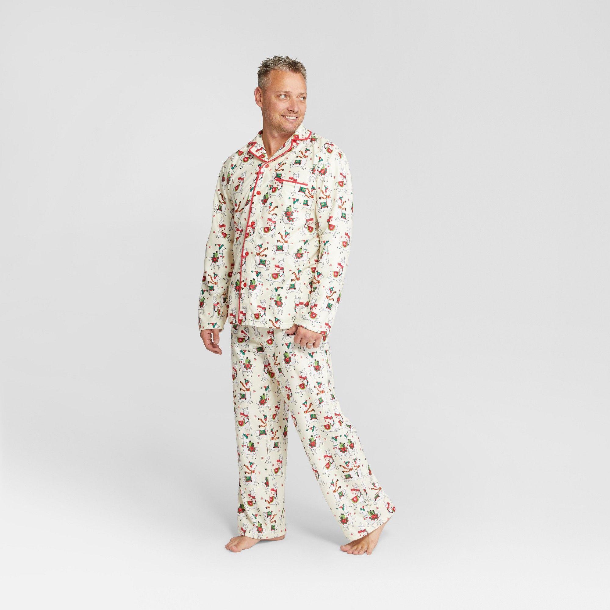 1bde27786c Nite Nite Munki Munki Men s Holiday Llama Notch Collar Pajama Set - Ivory  2XL