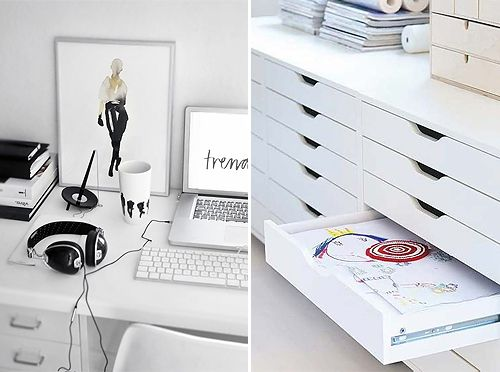 I love white home office elements. rooms idea & organisation