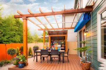 Kelsey Property Transitional Deck Portland Paradise Restored Landscaping Exterior Design Pergola Patio Shade Patio Design