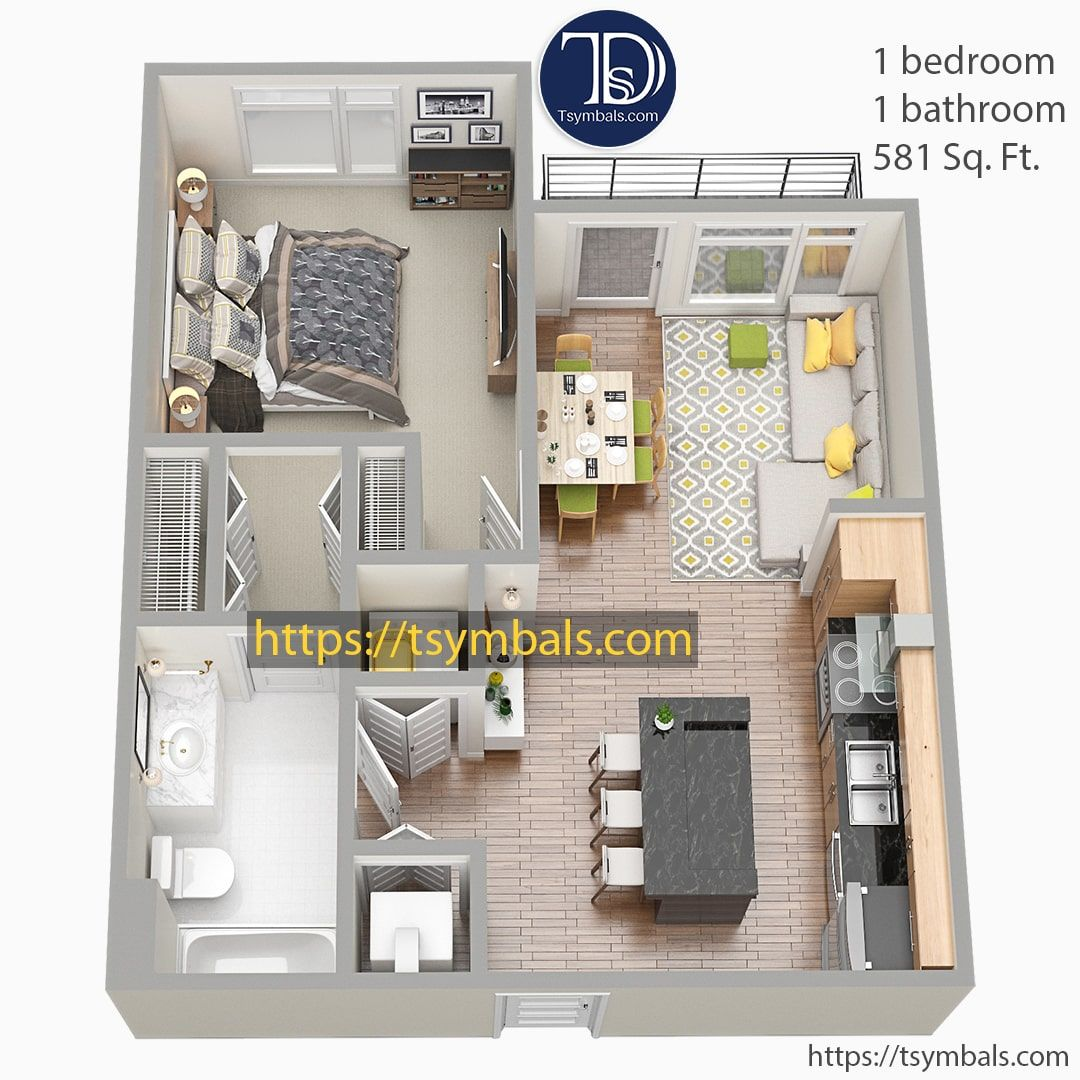 Modern One Bedroom 3d Floor Plans Tsymbals Design Floor Plans Sims House Design Bedroom Floor Plans
