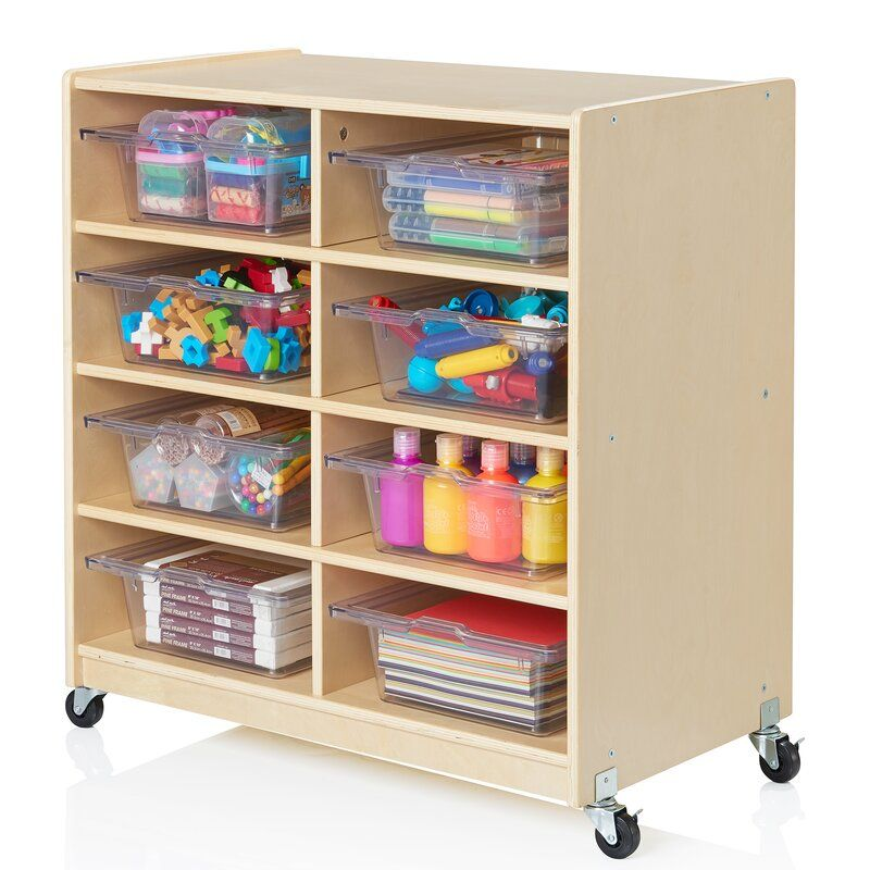 Guidecraft Wooden 8 Compartment Shelving Unit with Bins | Wayfair