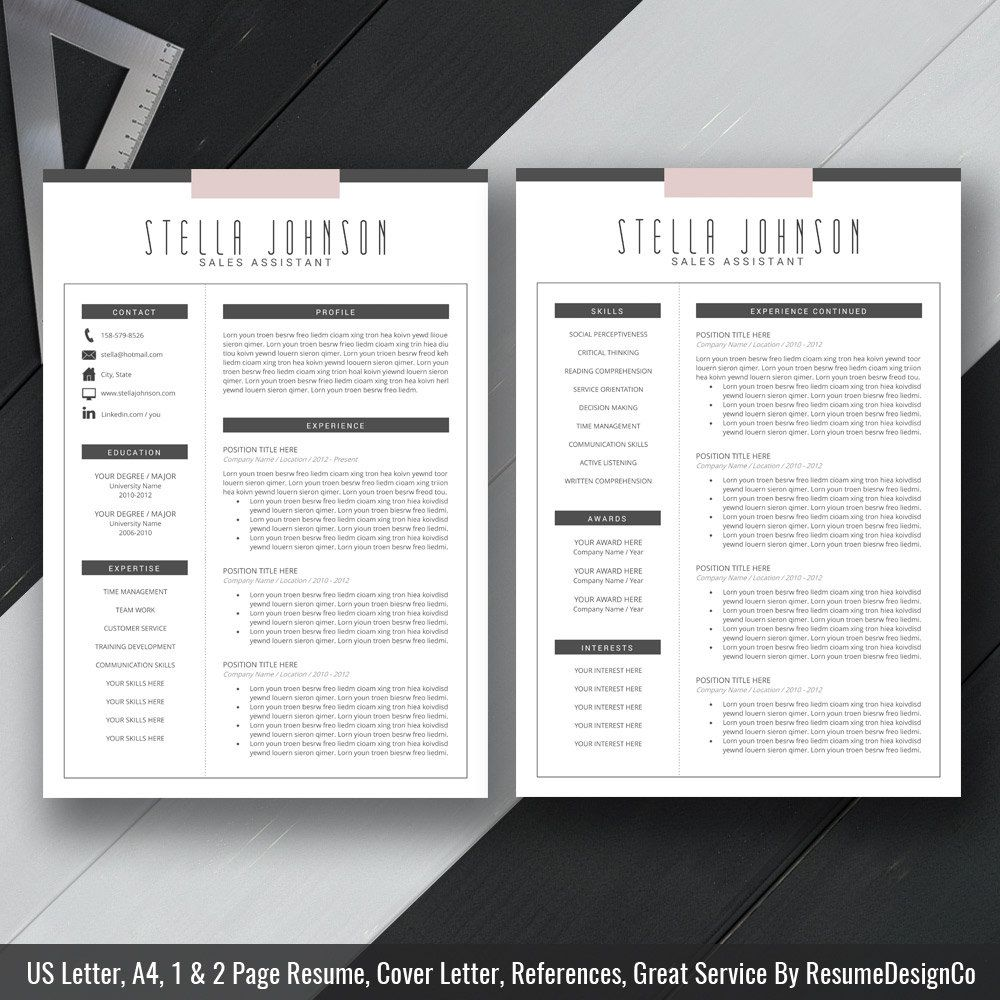 Modern Resume Template Cover Letter CV Template by