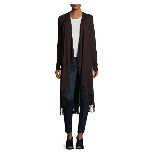 Neiman Marcus Long Fringed Hem Open Front Cardigan, Chocolate ($69 ...