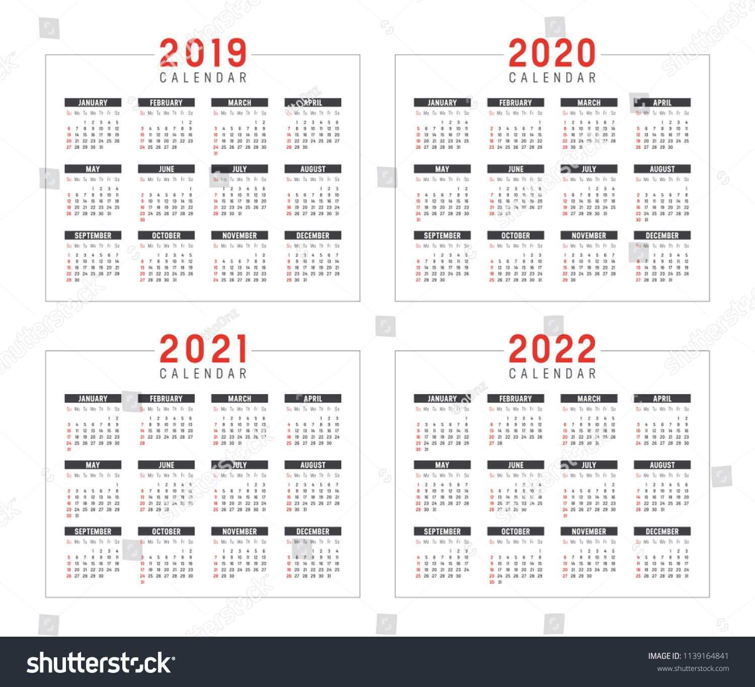 Set Of Minimalist Calendars Years 2019 2020 2021 2022 Weeks Start Sunday On White Background Vector Template Minimalist Calendar White Background Calendar