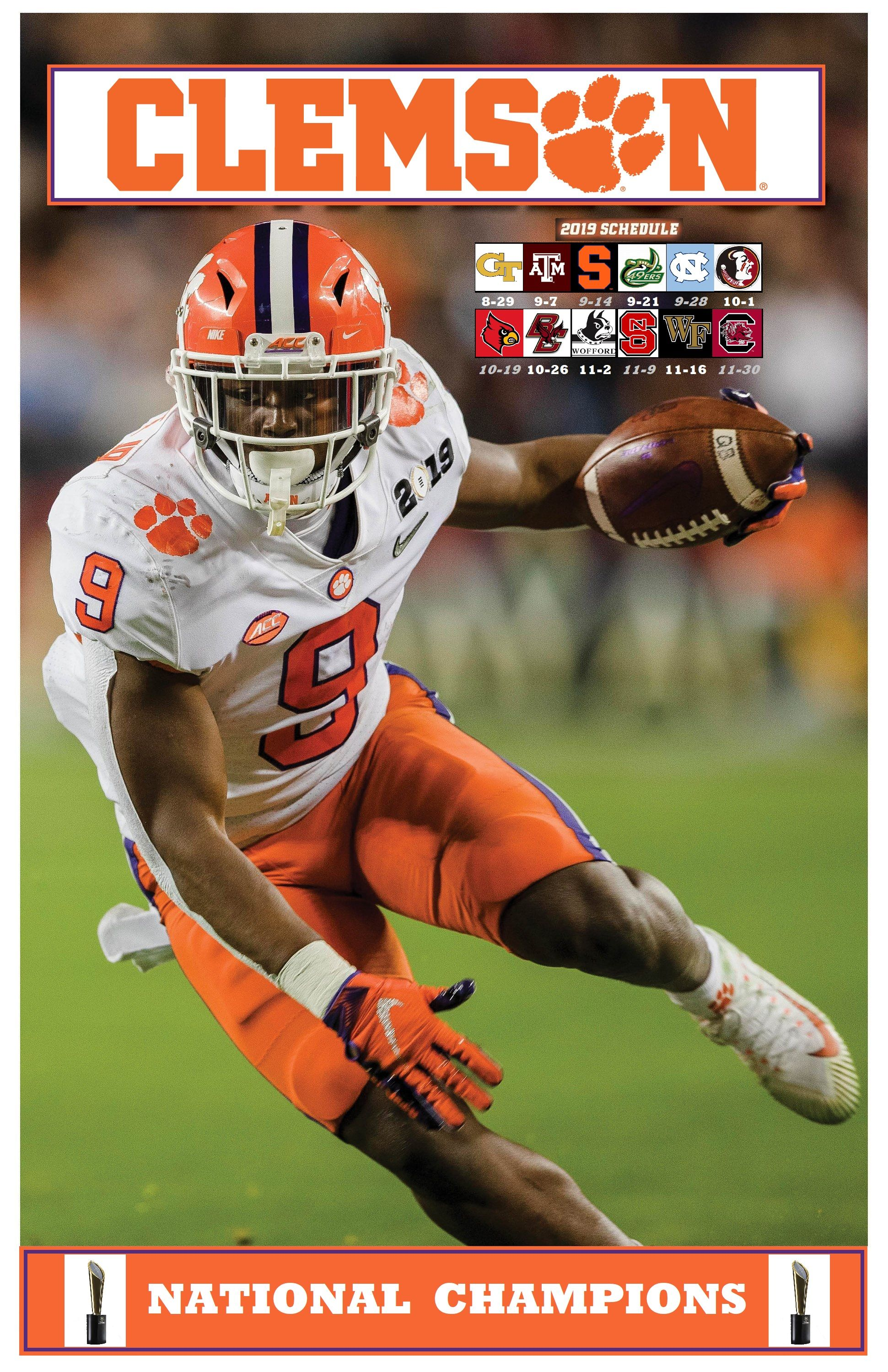 Clemson Tigers FB 2019 Schedule National champions
