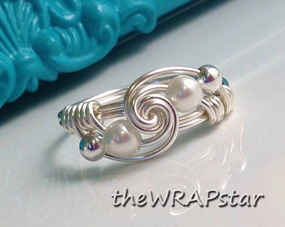 Anillo de perla alambre envuelto joyería hecha a mano alambre anillo ...