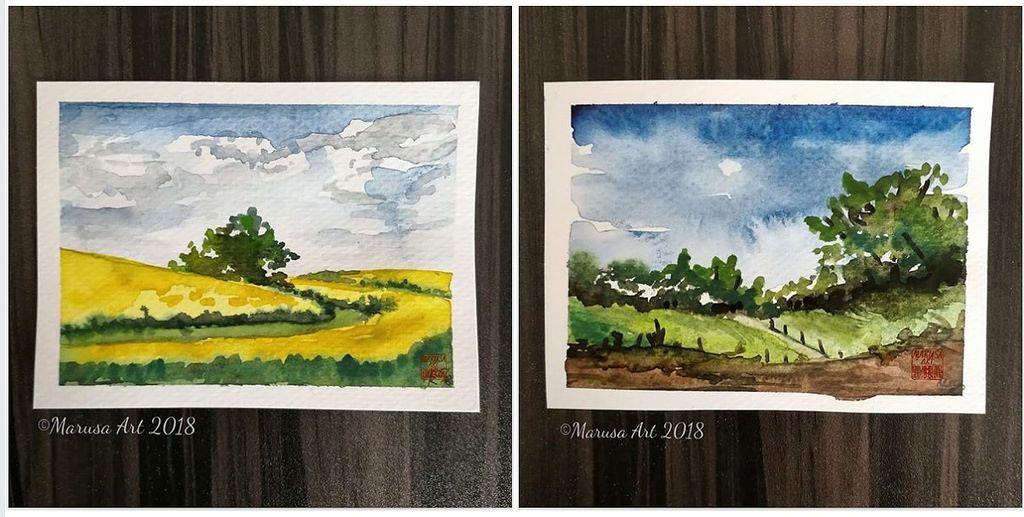 Two Tiny Little Watercolor Landscapes Watercolor Landscape