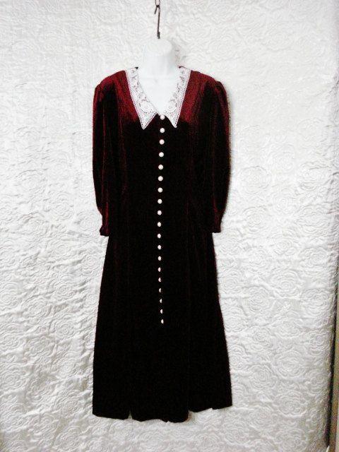 Burgundy Red Velvet dress