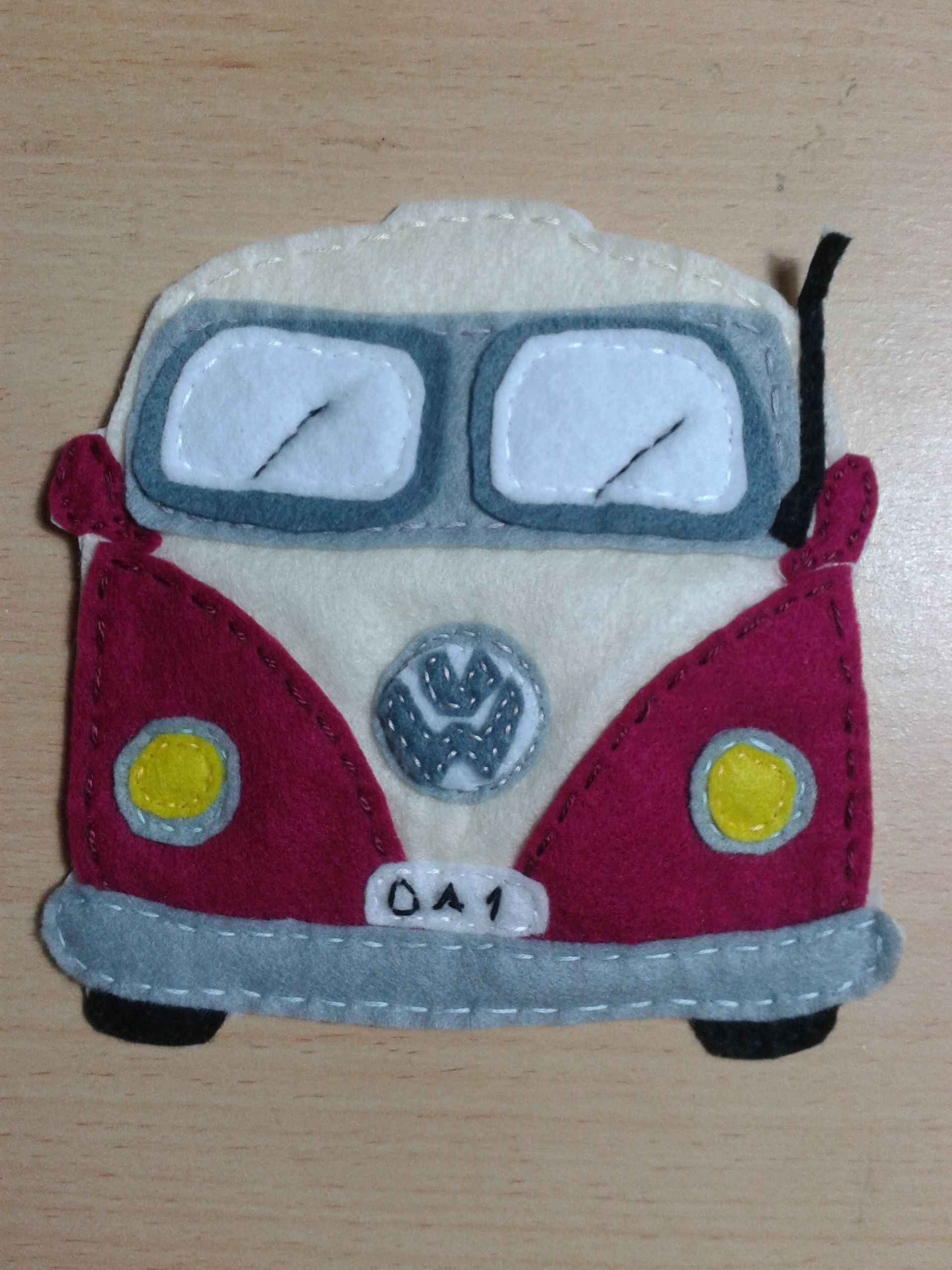 Love this felt applique camper van added to a bag for a customer of