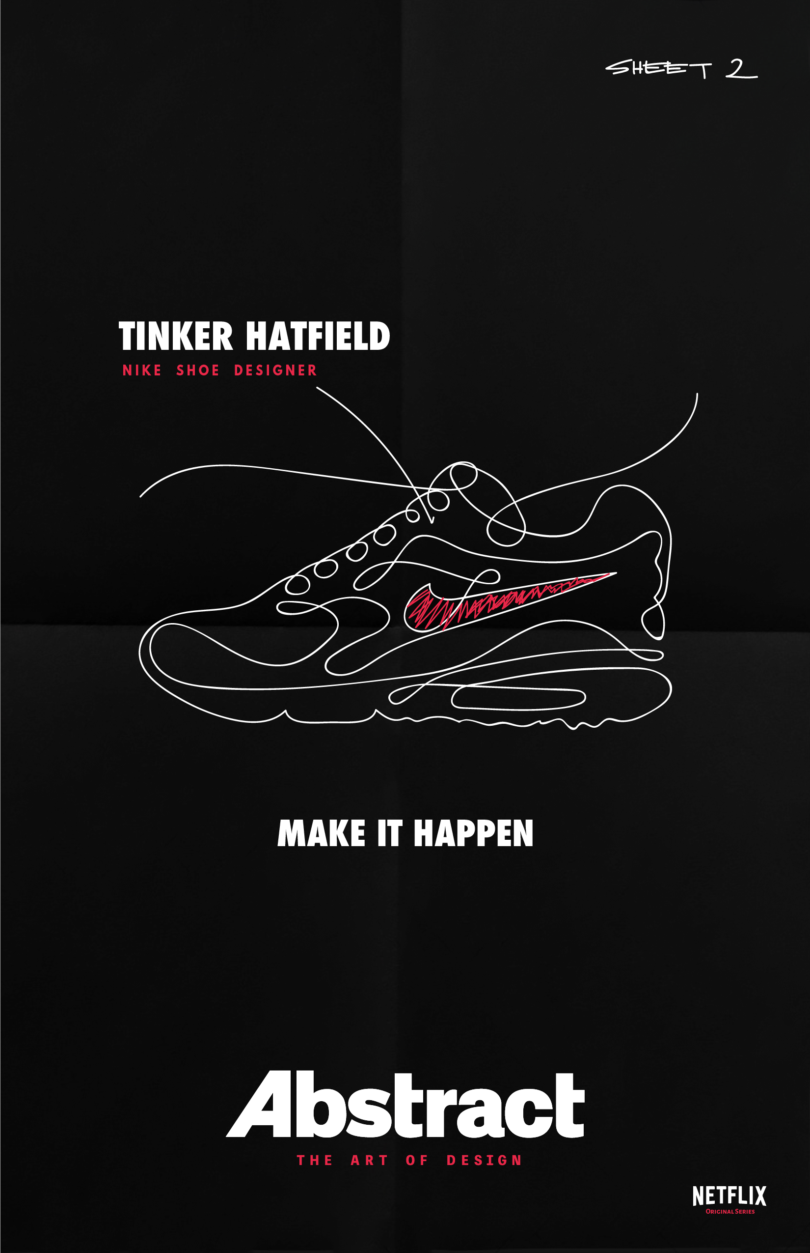 Abstract the Art of Design Minimalist Poster Tinker Hatfield - Nike Shoe  Designer Chapter 2