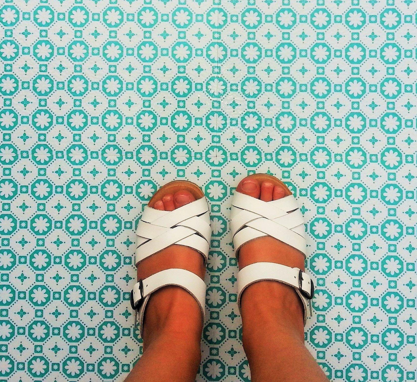 Bali Turquoise Vinyl Floor Tile £16 per m2 White