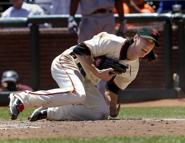 Tim Lincecum Comes Up After Tagging Out Chad Billingsley In The Third Inning The San Francisco Giants Vs The Los Angel Dodgers San Francisco Giants Sf Giants