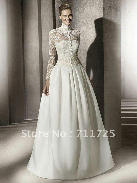 High Neck Lace Long Sleeve Winter Wedding Dress Idea Long Sleeve Wedding Dress Lace Wedding Dress Long Sleeve Wedding Dresses Satin