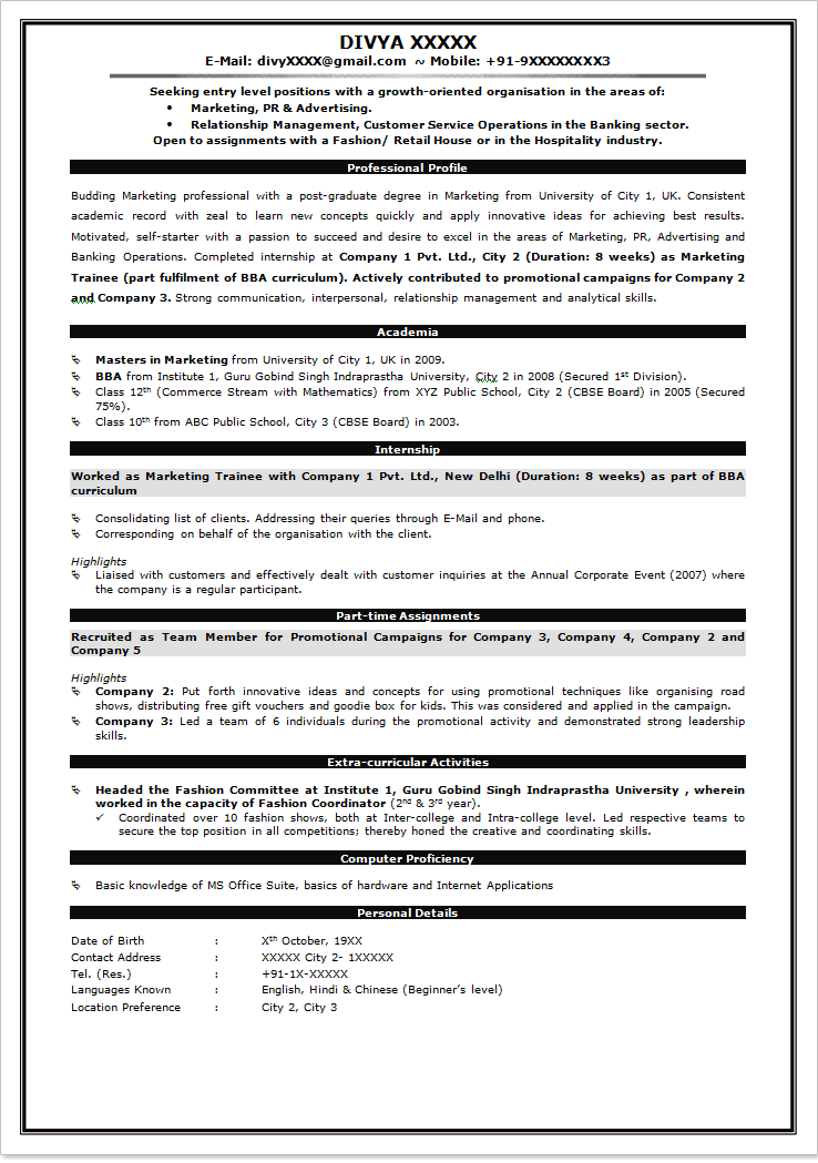 format resume for freshers httpwwwresumecareerinfoformat - Formatted Resume Template