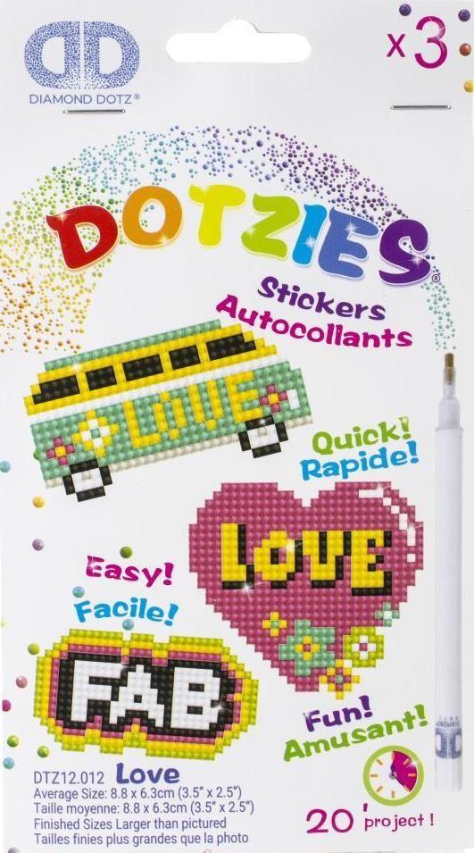 Diamond Dotz Love Fab Hippy Heart Dotzies Sticker Facet Art Bead Craft Kit