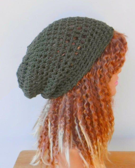 Woman slouch hat/Weekend cotton snood slouchy hat/smaller women Dread Tam cotton Hair net beach hat