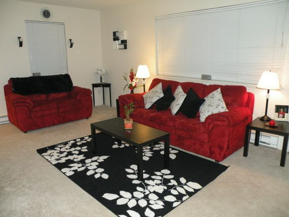 black and red living room walls