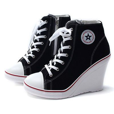 Details about Womens Canvas Shoes High Top Wedge Ankle Boots Heel Lace Up Fashion Sneakers