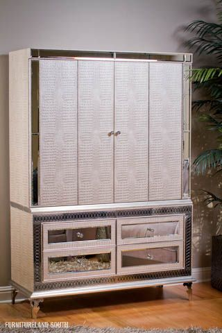 AICO - Hollywood Swank Media Cabinet with Mirror inlays in drawers and crocodile textured doors. & AICO - Hollywood Swank Media Cabinet with Mirror inlays in drawers ...