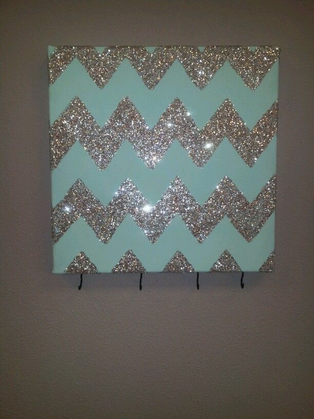 Chevron Glitter Wall Art With Hooks To Hang Keys Or
