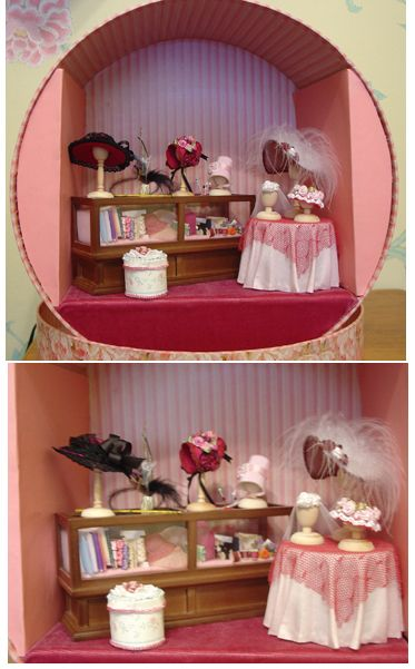 9151ca2f6a1 hatbox doll scene | רהיטים מניאטורים | Doll house crafts, Dollhouse  miniatures, Hat shop