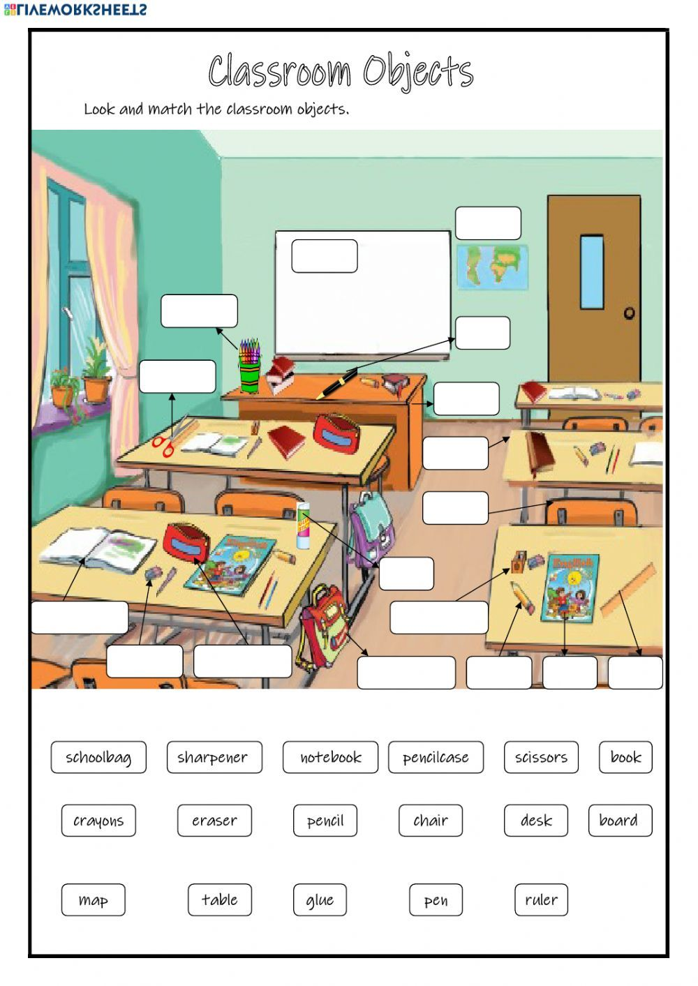 Classroom Objects online exercise and pdf. You can do the exercises online  or download the w…   Ingles para preescolar [ 1413 x 1000 Pixel ]