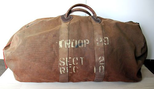 Vintage Ll Bean Leather Canvas Duffle Bag Very Old Black