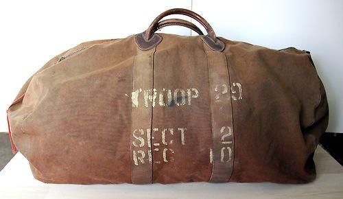 Vintage ll Bean Leather Canvas Duffle Bag Very Old Black Label Circa 1930  40 S   eBay f04b2613fb