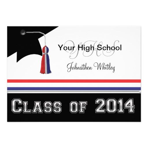 Red Blue Class of 2014 Graduation Invitations Them Shopping and We