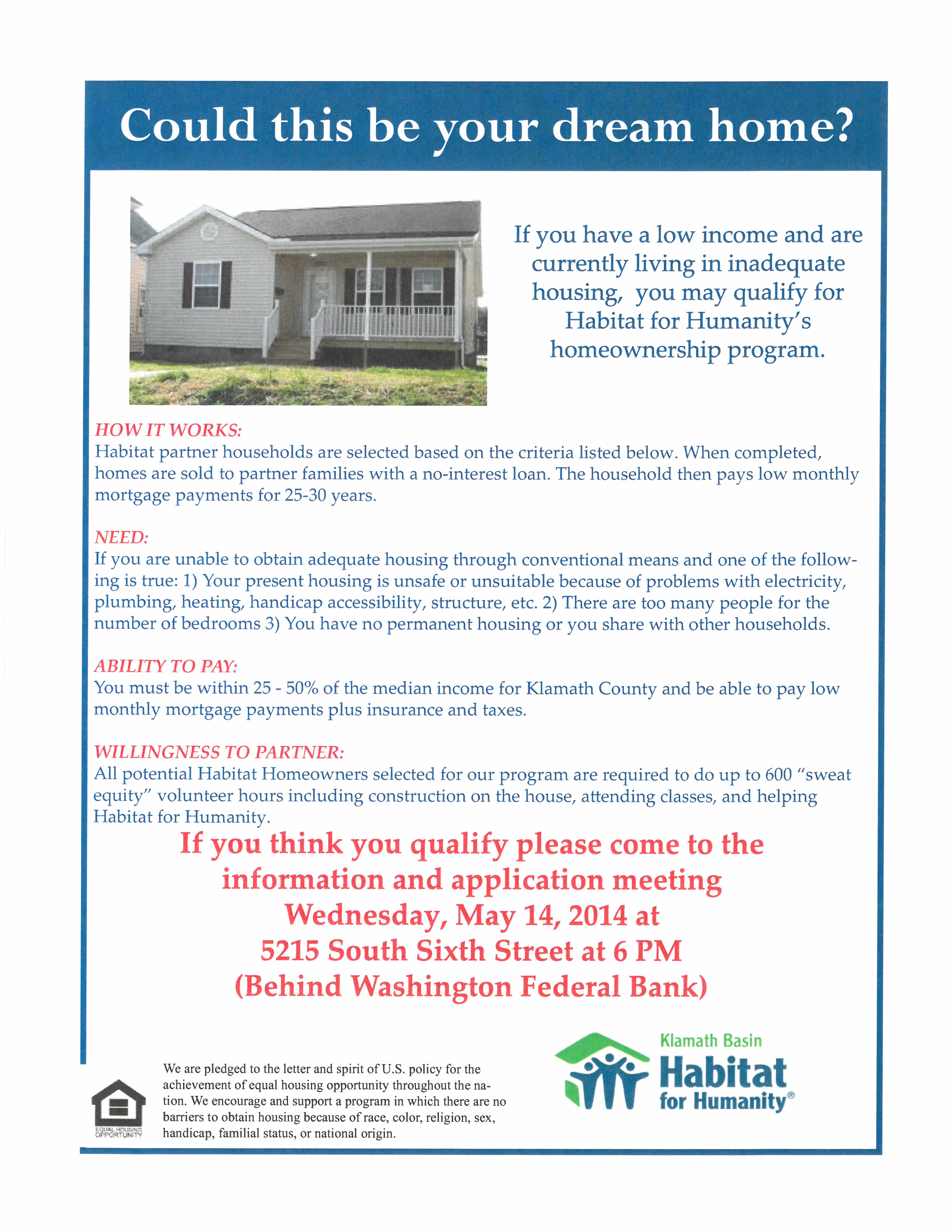 Habitat For Humanity Home Being Built In Klamath Falls Oregon Do You Qualify Read The Attached Habitat For Humanity Habitats Habitat For Humanity Houses