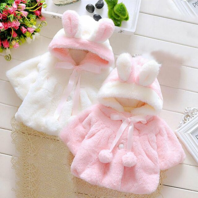 Details about Cute Baby Girls Hooded Coat Jacket Toddler Kids Plush Rabbit Ear Hoodies Outwear