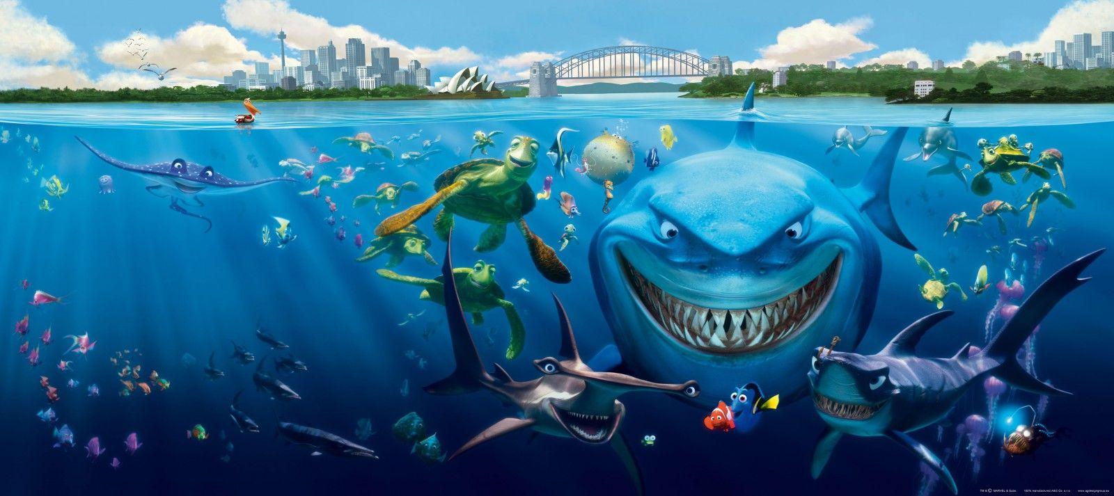 Wall mural wallpaper Finding Nemo 3 sharks Bruce Anchor & Chum photo 202 x 90 cm / 2.21 yd x 35 ...