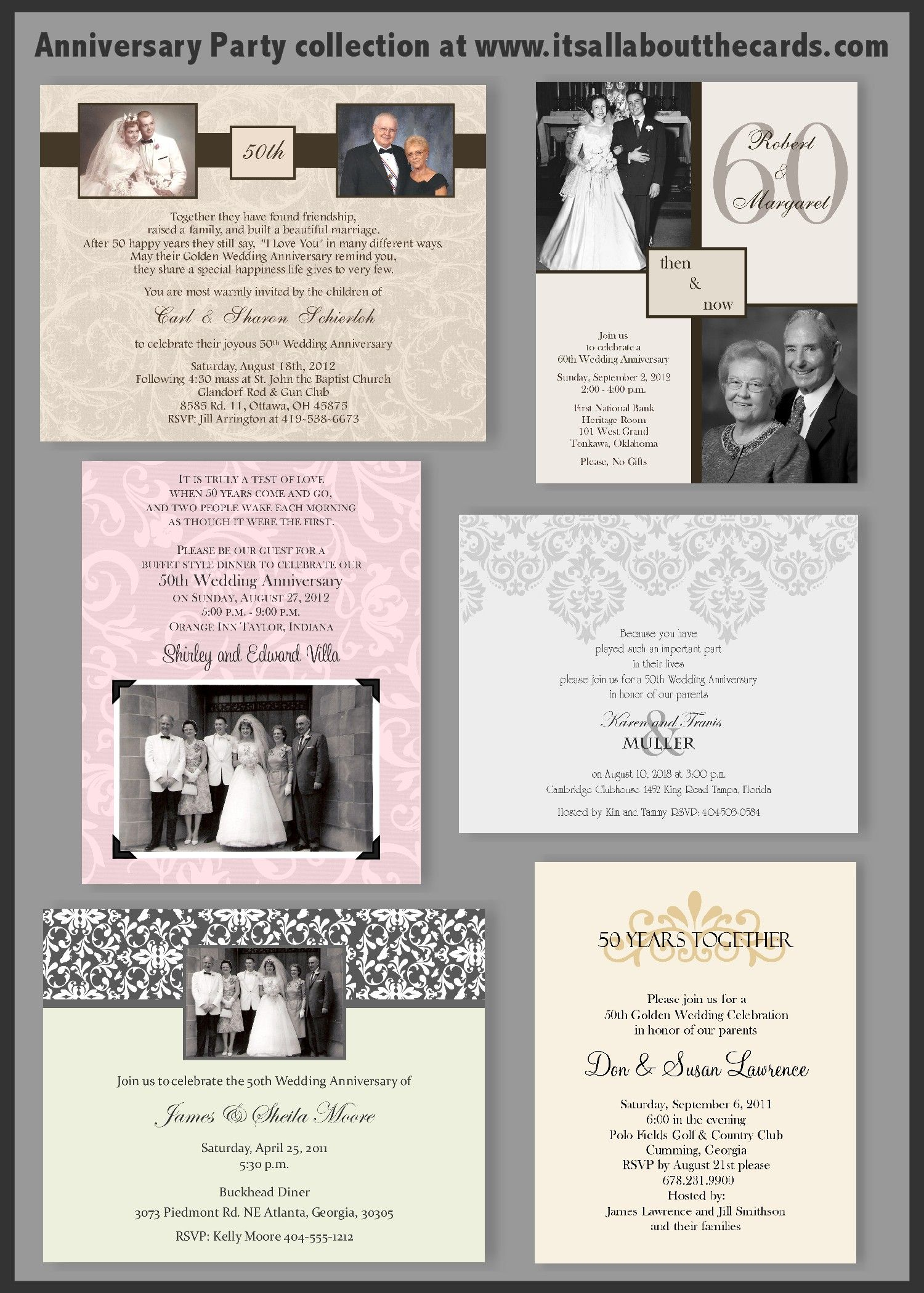 Anniversary invitation ideas at www.itsallaboutthecards.com. | Mom ...