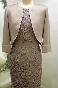 Sheath/Column Bateau Knee-length Lace Mother of the Bride Dress