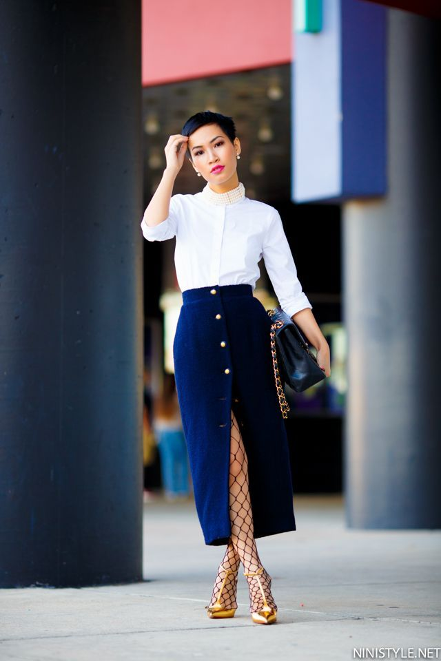 Indigo Blue Button Skirt, White Button Shirt & Fishnet Stockings