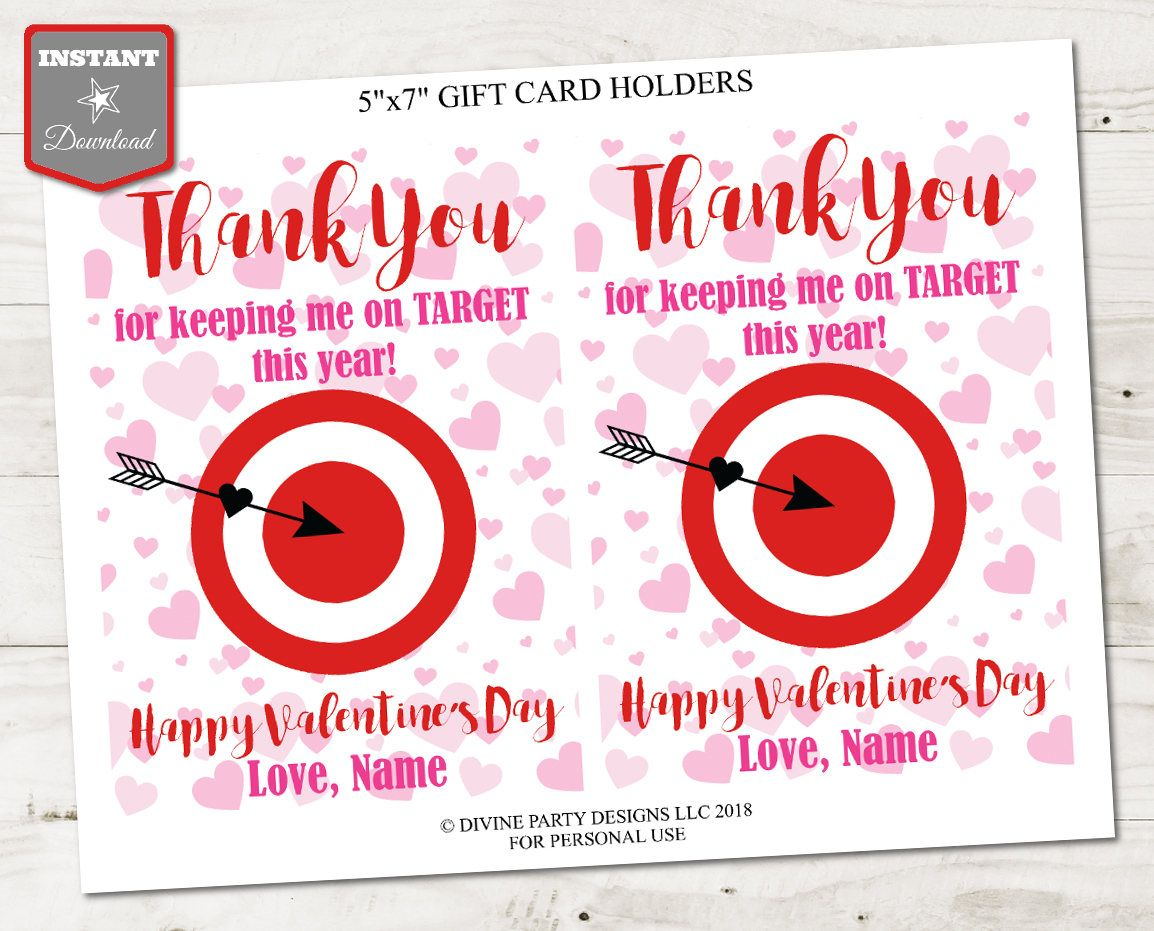 Instant Download Printable Valentine S Day 5x7 Thank You Etsy Target Gift Cards Gift Card Design Gift Card Holder