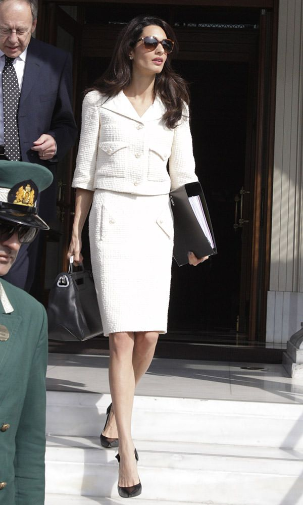 Amal Clooney spotted on her way to meet with Greek Premier Samara in Athens, Greece