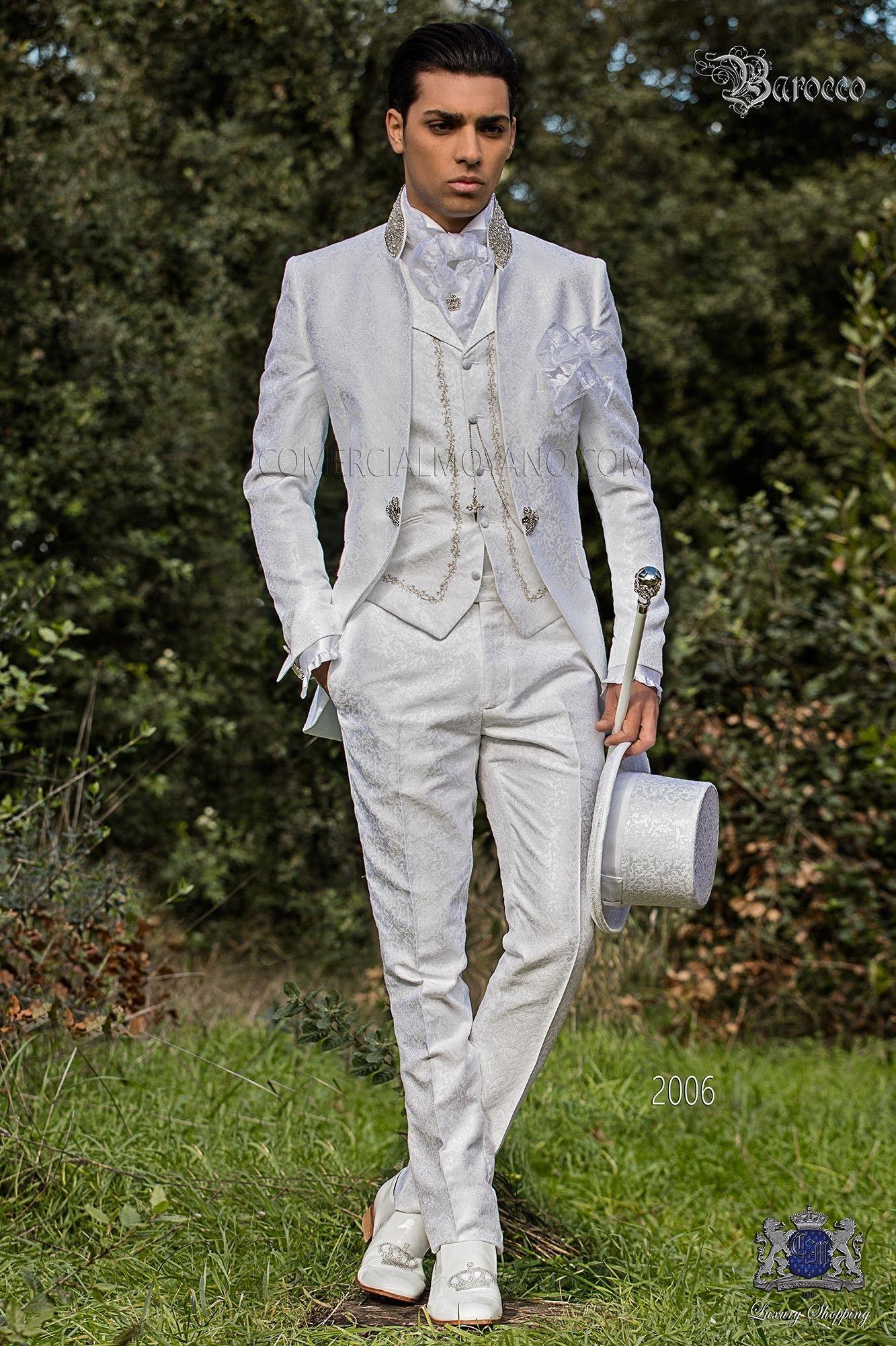 Bräutigam Anzug Mantel italienischen Barock weißen Brokatstoff ...
